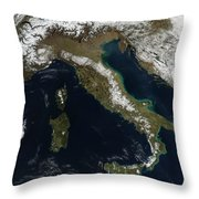 Satellite View Of Snow In Italy Throw Pillow