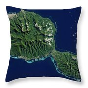 Satellite View Of Tahiti Throw Pillow