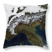 Satellite View Of The Alps Throw Pillow by Stocktrek Images
