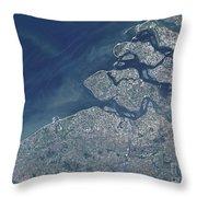 Satellite View Of The Belgium Coastline Throw Pillow