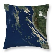 Satellite View Of The Croatian Islands Throw Pillow