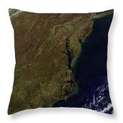 Satellite View Of The Mid-atlantic Throw Pillow