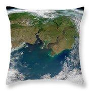 Satellite View Of The Ob And Yenisei Throw Pillow