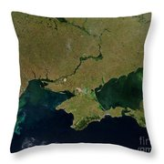 Satellite View Of The Ukraine Coast Throw Pillow by Stocktrek Images