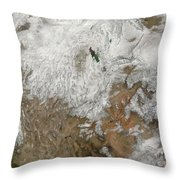 Satellite View Of The Western United Throw Pillow