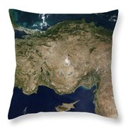 Satellite View Of Turkey And The Island Throw Pillow