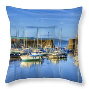 Saundersfoot Boats Painted Throw Pillow