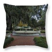 Savannah Square And Fountain Throw Pillow