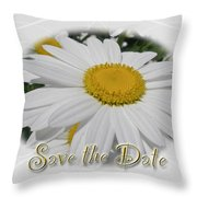 Save The Date Greeting Card - White Daisy Wildflower Throw Pillow
