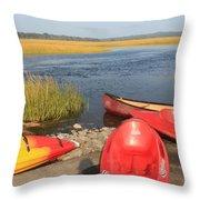Scarborough Marsh Kayaks Maine Throw Pillow