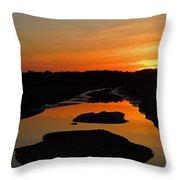 Scarborough Marsh Sunset 1 Throw Pillow