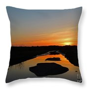 Scarborough Marsh Sunset 2 Throw Pillow
