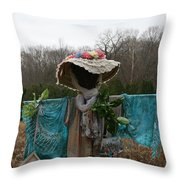 Scarecrow Garden Art Throw Pillow
