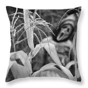 Scarecrow In The Corn Black And White Throw Pillow