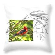 Scarlet Tanager Throw Pillow