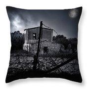 Scary House Throw Pillow