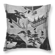 Scenes From The Tale Of Genji Throw Pillow