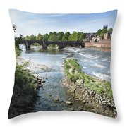 Scenic Landscape With Old Dee Bridge Throw Pillow