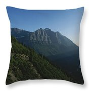 Scenic Overlook In Glacier National Throw Pillow