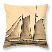 Scenic Schooner - Sepia Throw Pillow