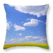 Scenic View Of Meadow And Canola Crop Throw Pillow