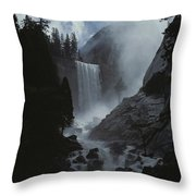 Scenic View Of Vernal Fall Throw Pillow