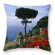 Scenic View Of Villa Rufolo Terrace Throw Pillow