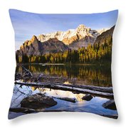Schaffer Lake And Mount Huber Throw Pillow
