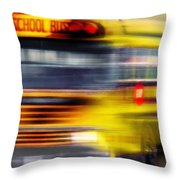 School Bus Rush Throw Pillow