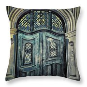 Schoolhouse Entrance Throw Pillow by Jutta Maria Pusl