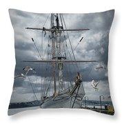Schooner In Halifax Harbor Throw Pillow
