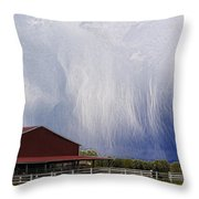 Scifi Storm And Red Barn Throw Pillow