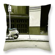 Scooter And Man - Illustration Conversion Throw Pillow