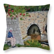 Scottish Man Under Flowering Tree Throw Pillow