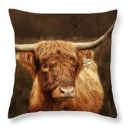 Scottish Moo Coo - Scottish Highland Cattle Throw Pillow by Christine Till