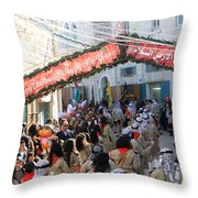 Scouts Marching During Christmas Parade In Bethlehem Throw Pillow