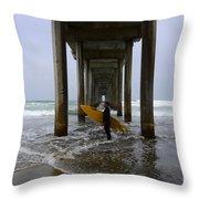 Scripps Pier Surfer 2 Throw Pillow
