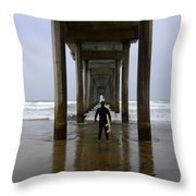Scripps Pier Surfer 3 Throw Pillow