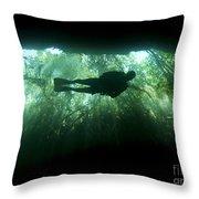 Scuba Diver In The Cavern Part Throw Pillow by Karen Doody