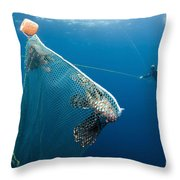 Scuba Diver Nets Invasive Indo-pacific Throw Pillow