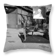 Scuptures On The Corner In Black And White Throw Pillow