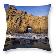 Sea Arch At Pfeiffer Beach Big Sur Throw Pillow