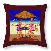Sea For Two - Girlfriends At Beach Throw Pillow