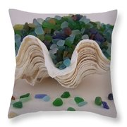Sea Glass In Clam Shell - No 1 Throw Pillow