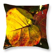 Sea Grape Leaves Throw Pillow