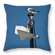 Sea Gull And Boat Mast Throw Pillow