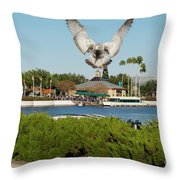 Sea Gull With Full Flaps Throw Pillow
