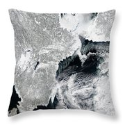 Sea Ice Lines The Coasts Of Sweden Throw Pillow