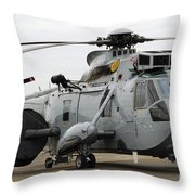 Sea King Helicopter Of The Royal Navy Throw Pillow by Luc De Jaeger