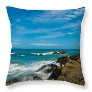 Sea Landscape With Beach Coast Rocks And Blue Sky Throw Pillow